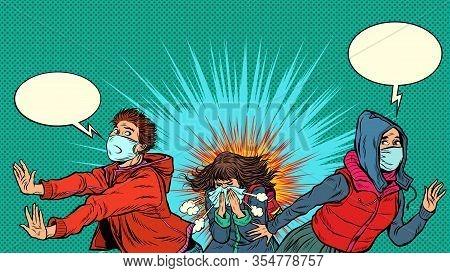 People Are Afraid Of An Epidemic. Pandemic Epidemic Coronavirus Covid19. Pop Art Retro Vector Illust