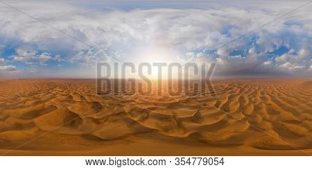 360 Panorama By 180 Degrees Angle Seamless Panorama Of Aerial View Of Red Desert Safari With Sand Du