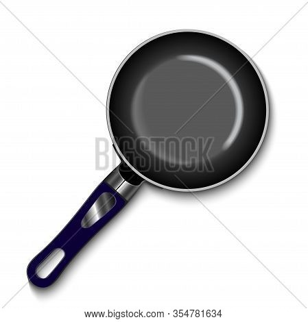 Empty Frying Pan, Top View Isolated On White Background. Realistic Steel Pan. Vector Illustration Mo