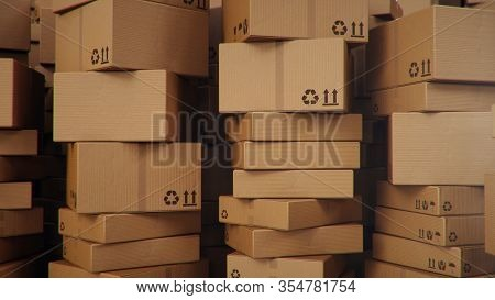 3d Illustration Background Of Cardboard Boxes. Heap Of Cardboard Boxes For The Delivery Of Goods, Pa
