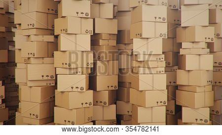 Background Of Cardboard Boxes Inside Warehouse, Logistic Center. Warehouse Filled With Cardboard Box