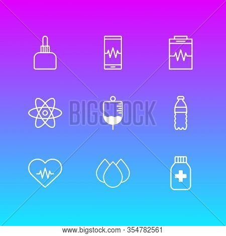 Vector Illustration Of 9 Medical Icons Line Style. Editable Set Of Heart With Cardiogram, Diagnosing