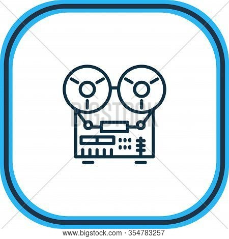 Vector Illustration Of Tape Recorder Icon Line. Beautiful Kitchenware Element Also Can Be Used As Au