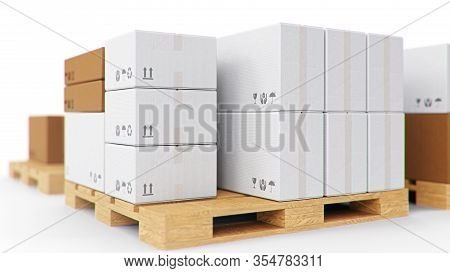 Cardboard Boxes On Wooden Pallets Isolated On A White Background. Cardboard Boxes For The Delivery O