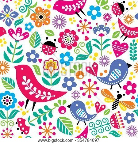 Scandinavian Folk Art Vector Seamless Pattern With Birds, Flowers, Spirng Happy Textile Design Inspi