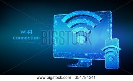 Wireless Connection Free Wifi Concept. Abstract Low Polygonal Computer Monitor And Smartphone With W