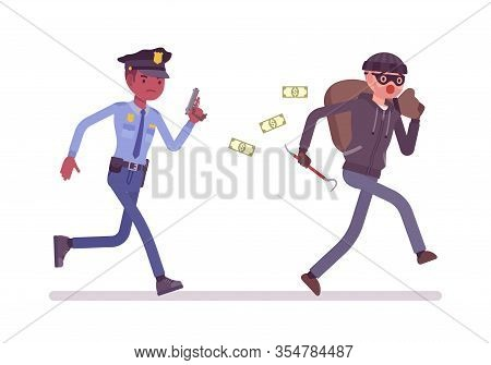 Thief And A Policeman Chase. Police Officer Pursuing To Capture Masked Burglar Committing Robbery, B