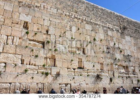 Jerusalem, Israel: March 1, 2020 - Jews In Praying At The Wailing  Wall In Jerusalem, Israel.
