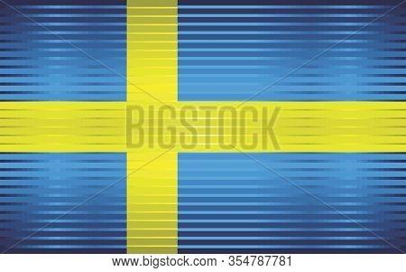 Shiny Grunge Flag Of The Sweden - Illustration,  Three Dimensional Flag Of Sweden
