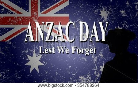 Anzac Day Lest We Forget Illustration, Australia Flag