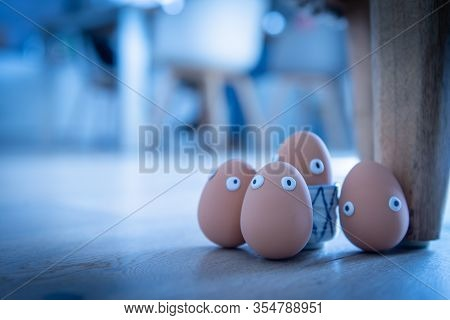 A Group Of Easter Eggs With Funny Eyes Is Hidden Early In The Morning, Children Have To Look For The