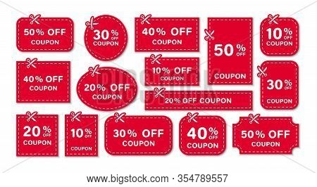 Set Of Coupon. Scissors Cut Template And Dashed Line. Gift Coupon Element Template, Graphics Design.