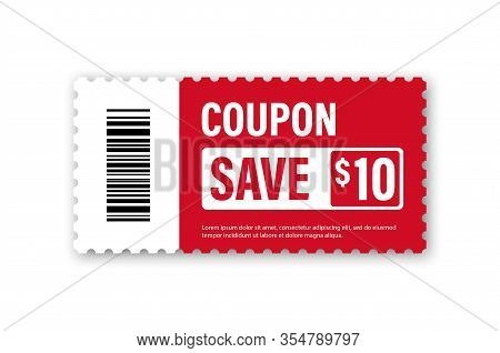 Set Of Template Coupon. Gift Coupon Element Template, Graphics Design. Voucher Promo Code. Shopping,