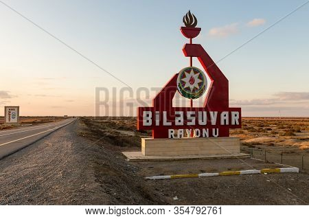 Bilasuvar, Azerbaijan - November 16, 2019: Entrance To The Bilasuvar District. Road Sign At The Entr