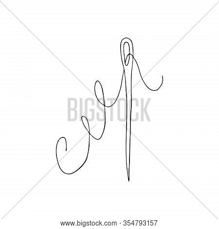 Sewing Needle With Eye And Thread Doodle Style Isolated On White Background. One Needle.equipment An