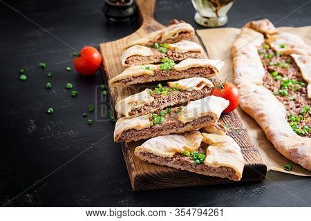 Turkish Pide With Minced Meat, Kiymali Pide. Traditional Turkish Cuisine. Turkish Pizza Pita With Me