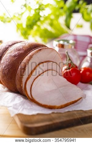 Chicken Smoked Cold Cuts, Close-up. Poultry Cold Cuts On Wooden Cutting Board.