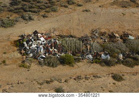 Abandoned Car Wreck Scrap Metal Junkyard Pile Aerial View Over The Outback Desert Of South Australia