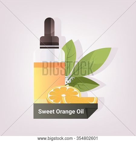 Dropping Essential Sweet Orange Oil Glass Bottle With Orange Fruit And Leaves Natural Face Body Beau