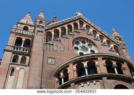 Szeged Votive Church In Hungary. Romanesque Revival Architecture.