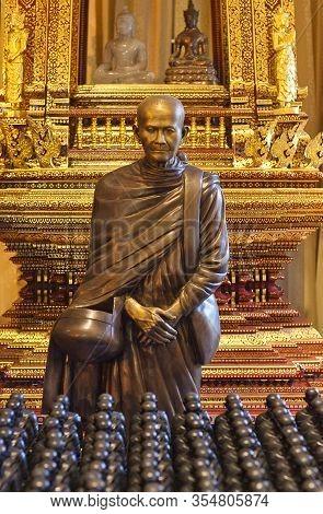 Chiang Mai, Thailand - November10, 2019: Statue Of Buddhist Monk Ajahn Mun Bhuridatta, Also Called L
