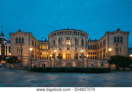 Oslo, Norway - June 24, 2019: Oslo, Norway. Night View Of Storting Building Parliament Of Norway Bui