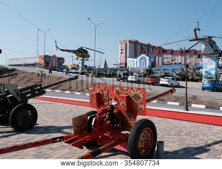 Military. Old Military Equipment Of The Ussr And Russia. Howitzer Painted Under Khokhloma. Military-