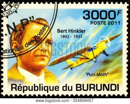 Moscow, Russia - March 09, 2020: Stamp Printed In Burundi Shows Bert Hinkler (1892-1933), Pioneer Au
