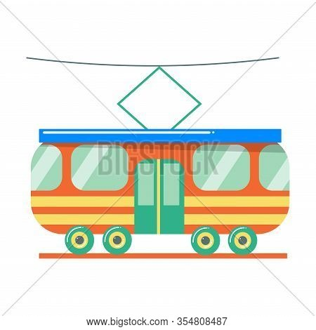 Cute Red Tram Toy For Children. Vector Illustration Isolated On White Background