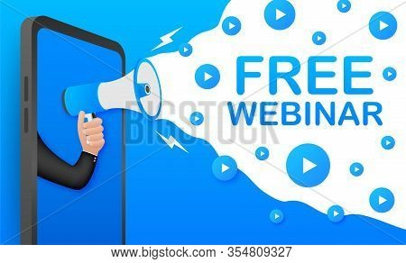 Free Webinar, Megaphone No Smartphone Screen. Can Be Used For Business Concept. Vector Stock Illustr
