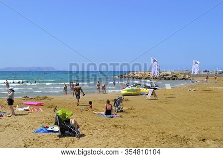 Gouves, Crete, Greece - June 3, 2019 : Inflatables For Hire On Gouves Beach In Crete The Largest And