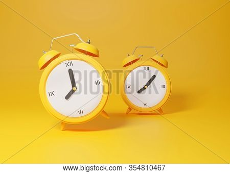 Two Analog Alarm Clocks Ringing Over Yellow Studio Background. Trendy Retro Clock Minimal 3d Render