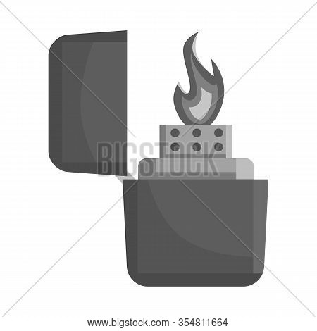 Vector Design Of Lighter And Butane Symbol. Graphic Of Lighter And Flame Vector Icon For Stock.