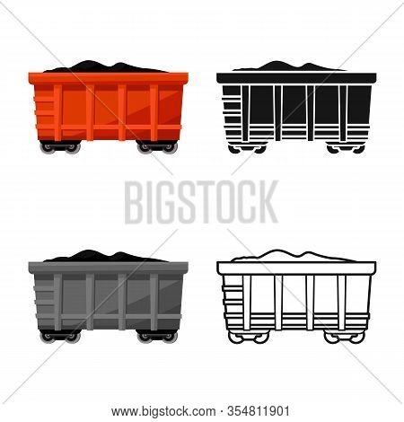 Vector Illustration Of Wagon And Cargo Icon. Web Element Of Wagon And Coal Stock Symbol For Web.
