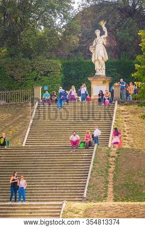 Florence, Italy - October 27, 2018: Sculpture Of Ceres, Greek Demeter, Ancient Roman Goddess In Bobo