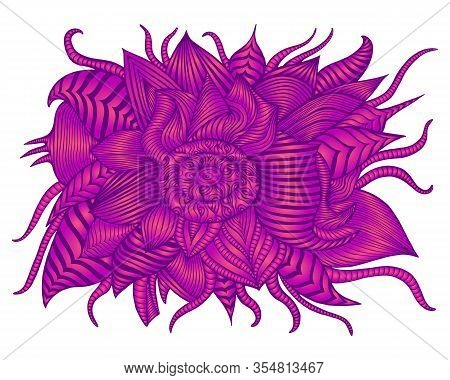 Vintage Psychedelic Alien Flower, Bright Purple Pink Gradient Color Isolated On White Background. Su