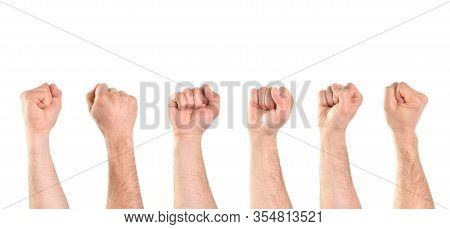 Several Views Of 6 Hands Of A Caucasian Man With A Closed Fist. Horizontal Composition.