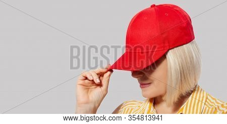 Blank Red Baseball Cap Mockup Template, Wear On Women Head, Isolated, Clipping Path Closeup. Woman I