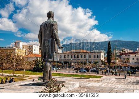 Athens / Greece - March 1 2020: The Statue Of El. Venizelos In Eleftherias Park With V. Sofias Ave A
