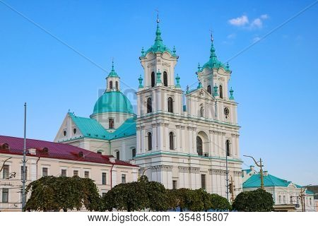 Grodno, Belarus - May 15, 2019: Famous Landmark Is St. Francis Xavier Cathedral In Grodno. Best Dest