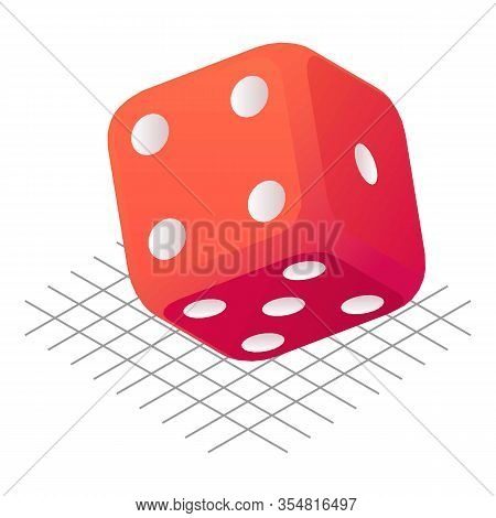 Dice Cube Icon. Isometric Of Dice Cube Vector Icon For Web Design Isolated On White Background