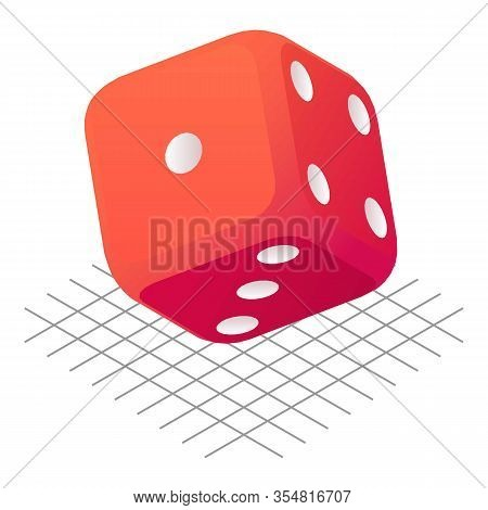 Throw Dice Icon. Isometric Of Throw Dice Vector Icon For Web Design Isolated On White Background