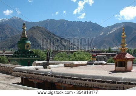 Mountain Landscape From The Tibetan Monastery Samye In The Suburb Of Lhasa, Tibet, China