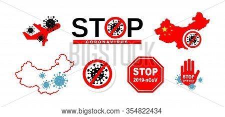 Stop Coronavirus Concept Icons. Dangerous Chinese Ncov Corona Virus, Sars Pandemic Risk Alert. Coron
