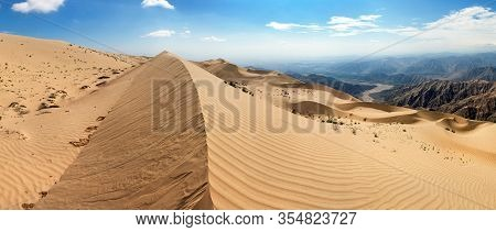 Cerro Blanco Sand Dune Panoramic View, The Highest Dunes On The World, Located Near Nasca Or Nazca T