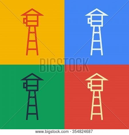 Pop Art Line Watch Tower Icon Isolated On Color Background. Prison Tower, Checkpoint, Protection Ter