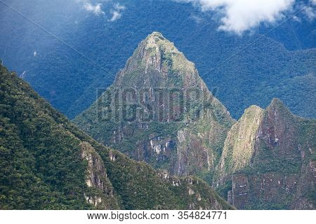 Mount Huayna Picchu And Temple, Machu Picchu Inca Town Seen From Start Of Salkantay Trek Near Cusco