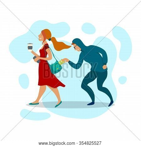Cartoon Color Characters People Pickpocket Stealing Concept Design Man Steal Women Money. Vector Ill