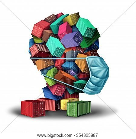 Shipping And Health Cargo Freight Hygiene Concept And Virus Contamination On A  Shipment As A Group