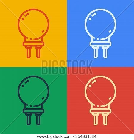 Pop Art Line Light Emitting Diode Icon Isolated On Color Background. Semiconductor Diode Electrical